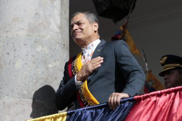 President Rafael Correa says goodbye from the balcony of the Carondelet Palace in Quito, Wednesday, May 24, 2017. After 10 years of rule Rafael Correa ends his term, Lenin Moreno is the new president of Ecuador. (Photo Franklin Jácome/ACG/NurPhoto via Getty Images)
