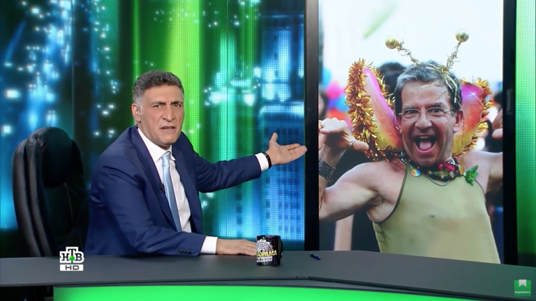 SCreengrab from International Sawmill, a satirical Daily Show–style program hosted by the filmmaker Tigran Keosayan on NTV