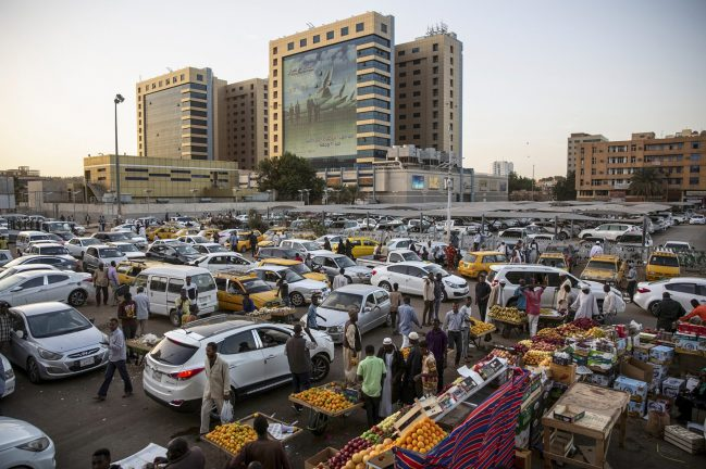 "Busy, rush-hour traffic near Souq Al-Araby (""Arab Market"") in downtown Khartoum, Sudan, Jan. 19, 2020."