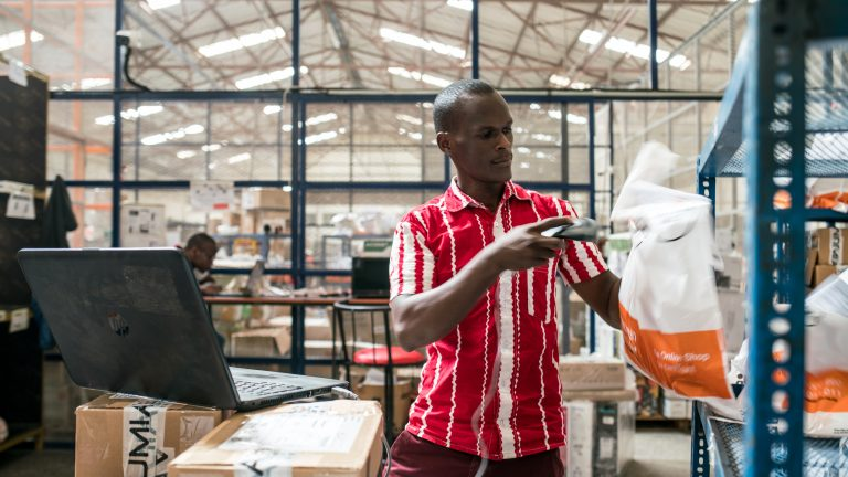 Jumia employees organize and package goods in the company's warehouse in Nairobi's industrial area, Kenya, on May 16, 2018.   Often touted as Africa?s answer to the online retail giant Amazon, Jumia seeks to ride on changing trends in e-commerce, entertainment, urbanization, music, and more. Started in Lagos, Nigeria in 2012, Jumia, as of 2016, had 126 operations across 23 African countries, thus covering 90% of African GDP and three million customers. In the same year, it became the continent?s first unicorn being valued over US$1 billion.  JUMIA