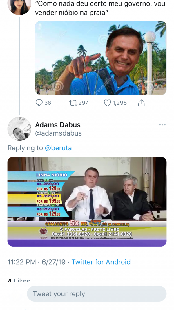Twitter users posted memes mocking Bolsonaro and comparing him to a beachside niobium hawker.