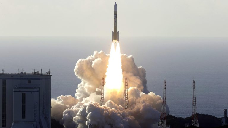 An H2A rocket carrying Hope, a Mars orbiter developed by the United Arab Emirates, takes off from Tanegashima Space Center in Kagoshima Prefecture, southwestern Japan, on July 20, 2020. (Photo by Kyodo News via Getty Images)