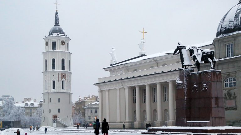 VILNIUS, Jan. 8, 2021 -- Photo taken on Jan. 8, 2021 shows the Cathedral Square covered by snow in Vilnius, Lithuania. (Photo by Guo Mingfang/Xinhua via Getty) (Xinhua/Guo Mingfang via Getty Images)