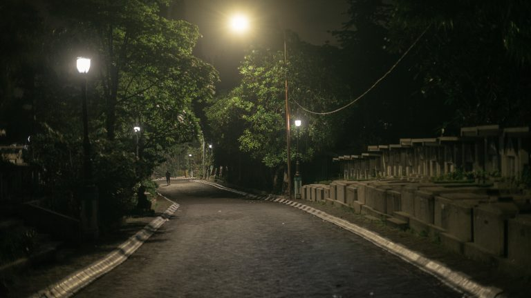 Kembang Kuning Cemetery Complex in Surabaya, East Java. At night this area is well known as a safe haven for sex workers/