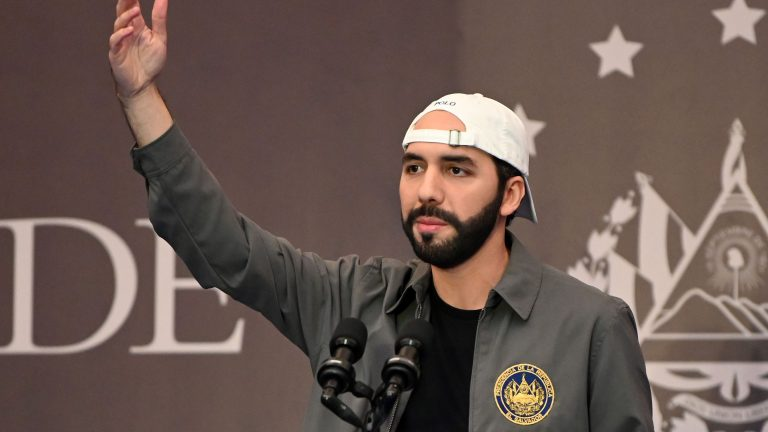 Salvadoran President Nayib Bukele delivers a press conference at a hotel in San Salvador, on February 28, 2021. - Salvadorans went to the polls Sunday to elect new lawmakers and mayors in a vote that could see President Nayib Bukele's backers secure an absolute majority in parliament. (Photo by STANLEY ESTRADA / AFP) (Photo by STANLEY ESTRADA/AFP via Getty Images)