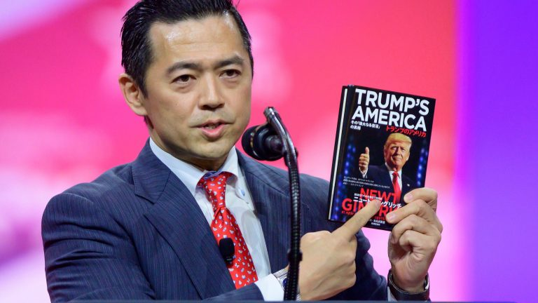 Mandatory Credit: Photo by Shutterstock (10128896b) Jikido 'Jay' Aeba, of the Japanese Conservative Union, holds up a book he translated into Japanese, at the 46th annual Conservative Political Action Conference (CPAC) at the Gaylord National Resort & Convention Center in National Harbor, Maryland, USA, 01 March 2019. The American Conservative Union's CPAC continues through 02 March. CPAC Conference, National Harbor, USA - 01 Mar 2019