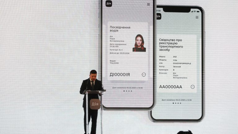 President of Ukraine Volodymyr Zelenskyy delivers a speech during the presentation of the Diia app.