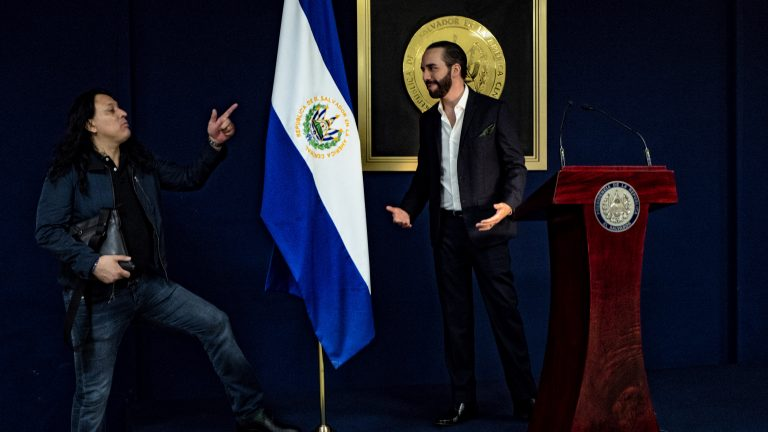 Central America - El Salvador, capital city San Salvador: President Nayib Bukele (right) and Ernesto Sanabria who is his right hand and communication consultan during his current government.